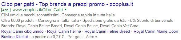 Google Adwords - cibo per gatti - primo risultato della SERP