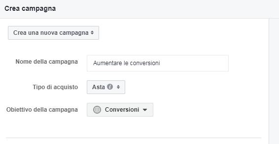 FB Ads - obiettivo conversioni