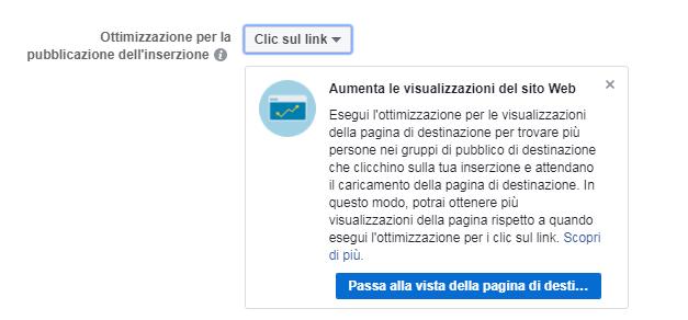 FB Ads - clic su link & pag. di destinazione