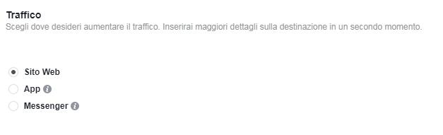 FB Ads - obiettivo Traffico
