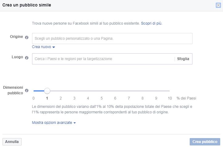 FB Ads - Pubblico simile