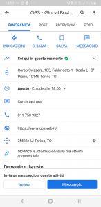 Google My Business Informazioni di contatto