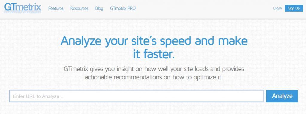 Homepage di GTmetrix