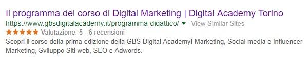meta description della pagina Programma Didattico di GBS Digital Academy