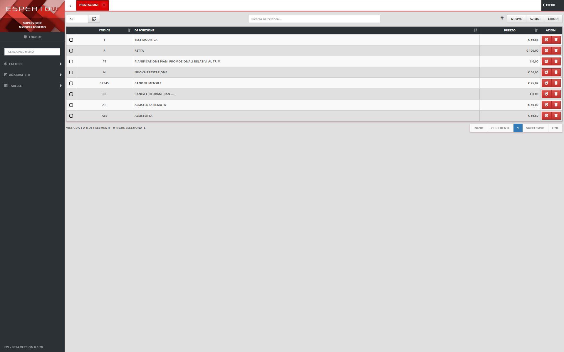 3 - Tabelle Modalità Pagamento / Iva / Prestazioni