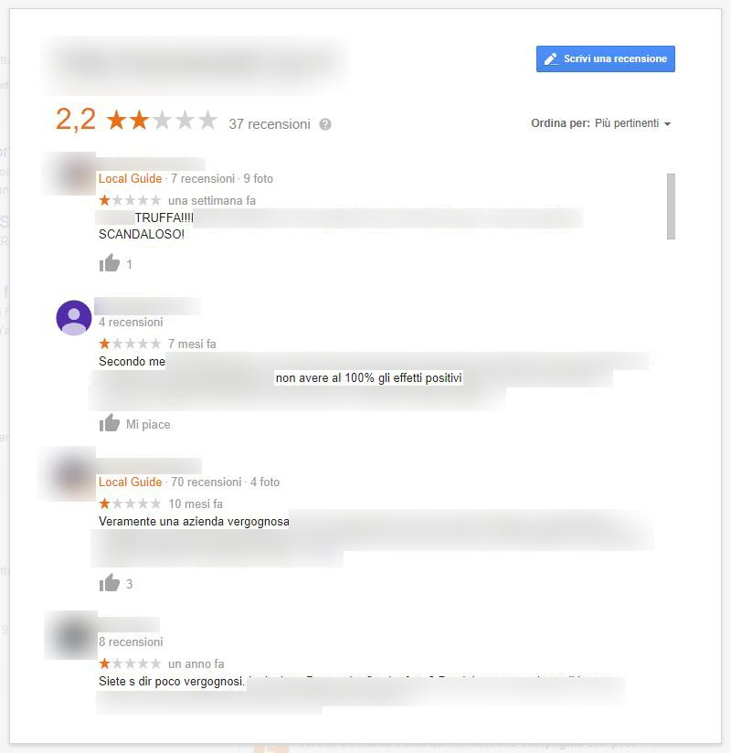 Recensioni negative google my business e come gestirle