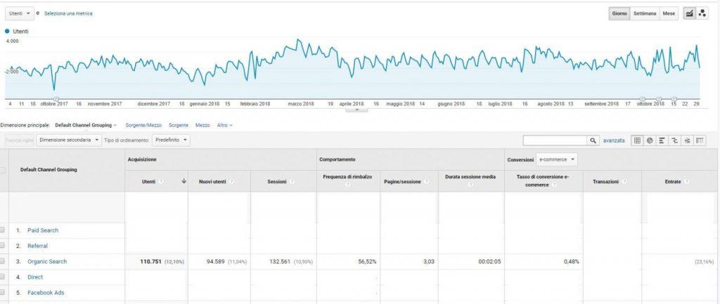 Analisi SEO e-commerce. Primi 13 mesi di attività