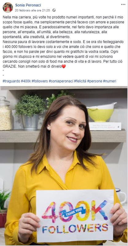 sonia peronaci traguardo instagram condiviso su Facebook