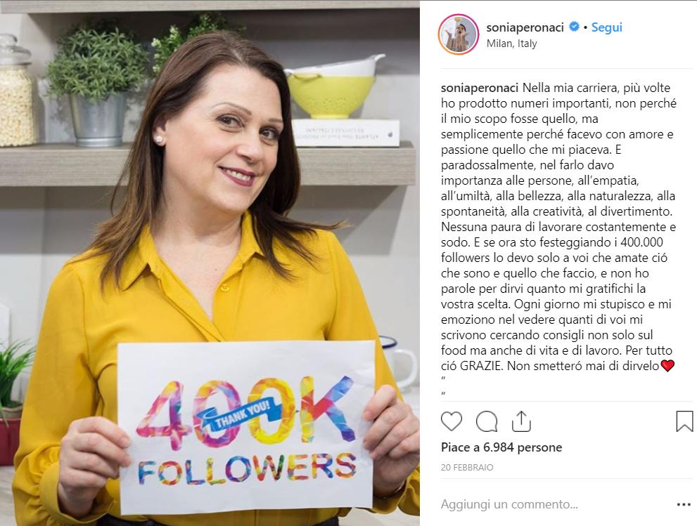 sonia peronaci traguardo instagram condiviso su instagram